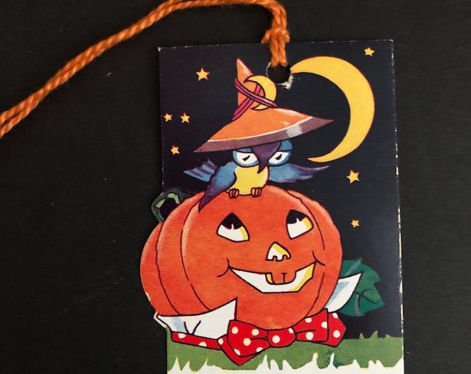 Vintage Halloween Bridge Tally Crescent Moon, Owl & Jack O'Lantern