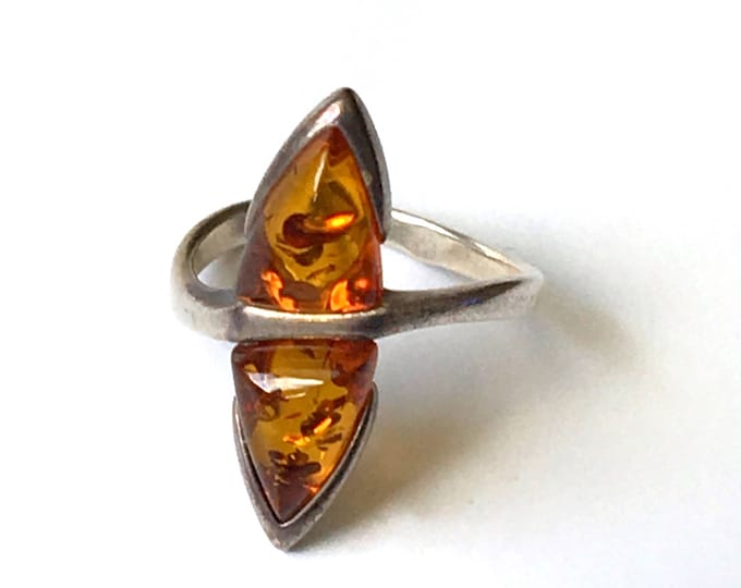 Sterling Silver Amber Ring Vintage Boho 2 Stone .925 Jewelry