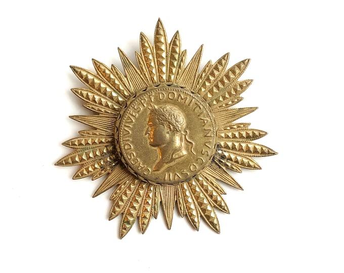 Vintage Miriam Haskell Roman Coin Brooch Pin Gold Starburst