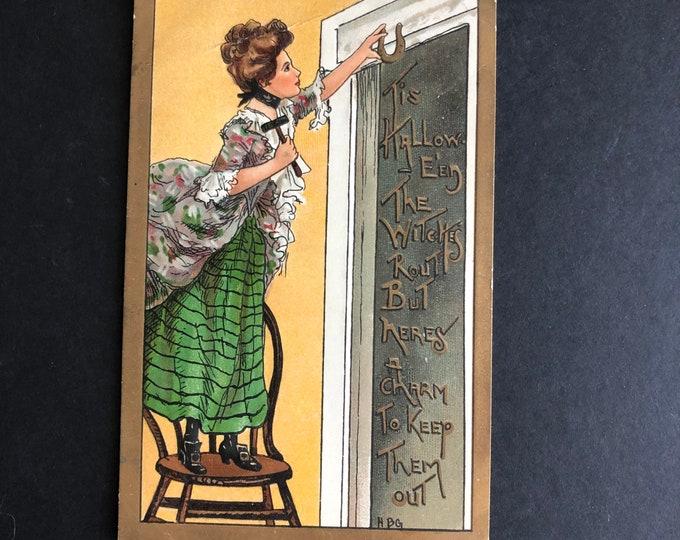 Vintage Halloween Postcard HBG Lucky Charm for Witches Post Card Ephemera