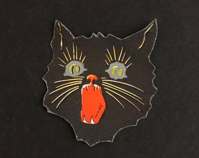 Black Halloween Cat Vintage Sticker Gummed Seal
