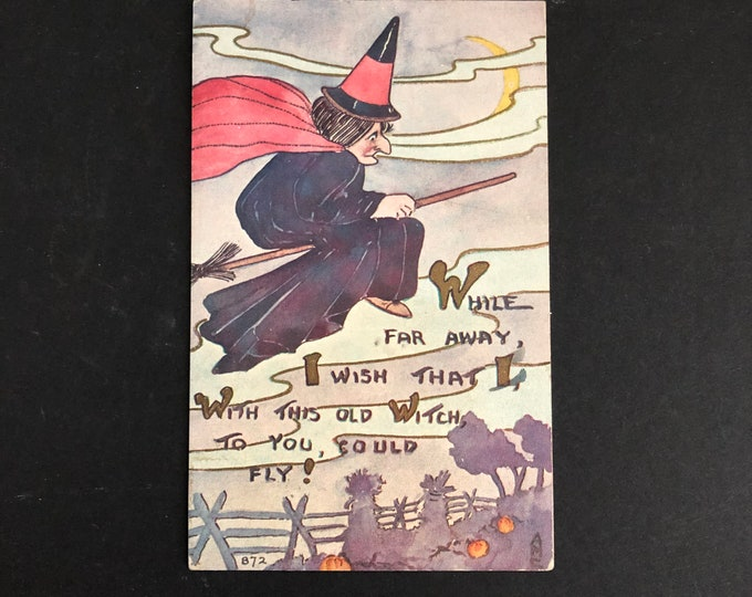 Flying Broomstick Witch Vintage Halloween Postcard F. A. Owen Post Card