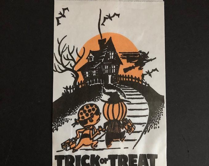 Halloween Goodie Candy Bags Set of Six Vintage Trick or Treat Ephemera