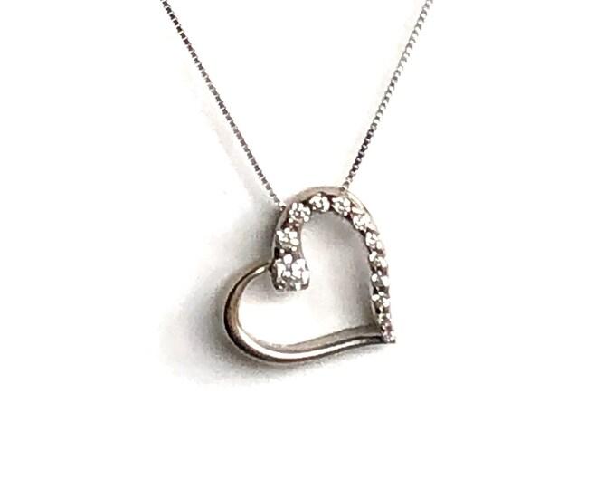 14k White Gold Diamond Heart Pendant Box Chain Vintage Sparkling Love