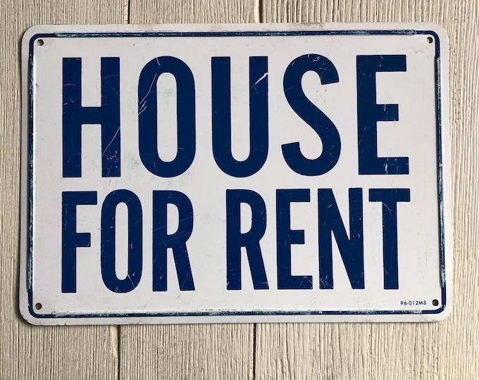 Vintage Metal House for Rent Sign Cobalt Blue White Industrial Decor