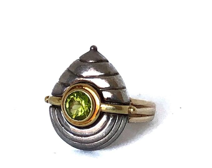 Caroline Ballou Sterling Silver & 18k Gold Peridot Ring
