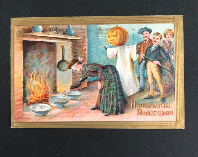 Vintage Woman in Blindfold Halloween Postcard Post Card Ephemera
