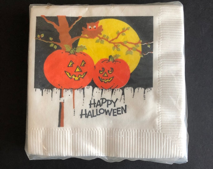 Vintage Halloween Beverage Napkins Jack O'Lanterns Owl Unopened NOS