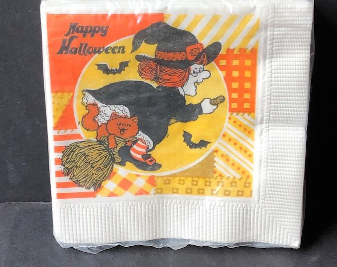 Vintage Halloween Beverage Napkins Flying Witch Bats Unopened NOS
