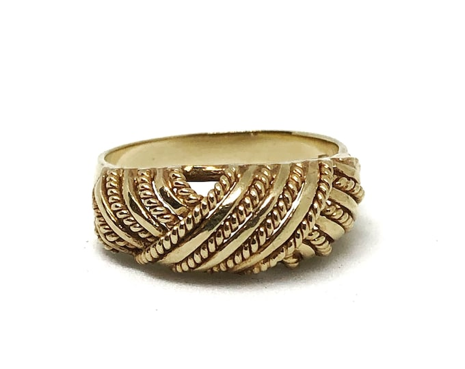 Vintage 14k Gold Italian Dome Ring Braided Domed Twisted Rope Size 5 3/4