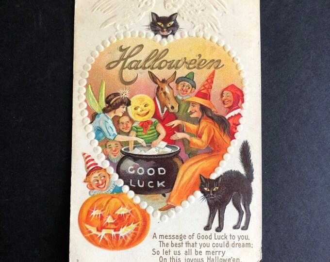 Vintage Halloween Postcard Stecher Series 216-E Party GOOD LUCK Cauldron Cat c1910s Ephemera