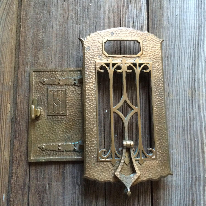 & Vintage Brass Door Knocker Speakeasy Viewer Antique Peephole Hardware
