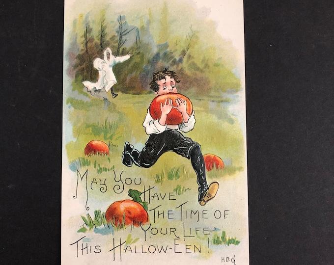 Vintage Halloween Ghost, Pumpkin Thief Postcard HBG Post Card Ephemera