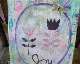 Joy Mixed Media Original Art Canvas 11x14, Gift Idea, Home Decor, Wall Art