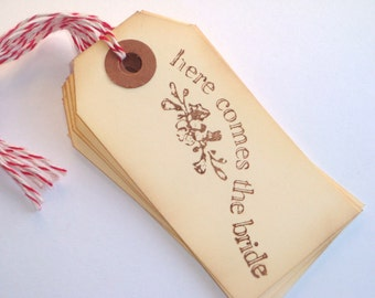 Here Comes the Bride Handstamped Tags with Baker's Twine 6pcs