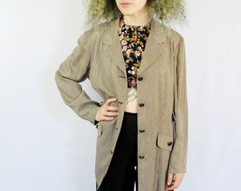 Black and taupe striped tailored sports jacket/blazer 1990s 90s VINTAGE