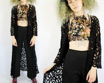 Black lace long sleeve maxi dress 1990s 90s VINTAGE