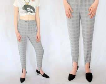 08c66bce12d3e VINTAGE 90s houndstooth plaid stretchy cotton knit stirrups / 90s stirrup  pants / black and white / 1990s clothing /90s VINTAGE trousers