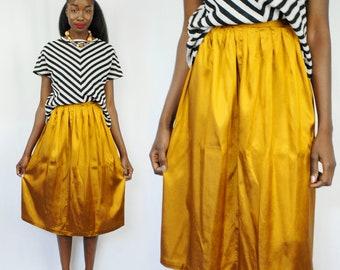 Metallic goldenrod pleated midi skirt 1990s 90s VINTAGE