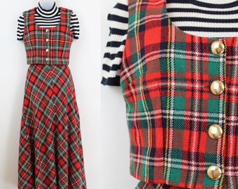 Vintage Red Plaid Skirt Set Waistcoat and Skirt Two Piece Suit Size S 70s