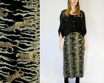 Tiger stripe with gold leopards patterned stretch knit maxi skirt PLUS SIZE 1990s 90s VINTAGE