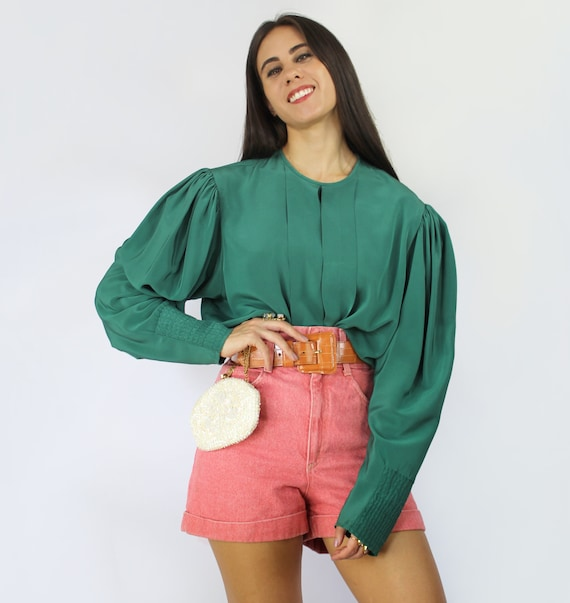 80s teal green pleated bishop sleeve blouse, Larg… - image 3