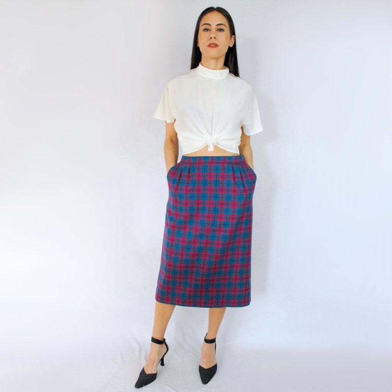 fb82fbf5e Teal and hot pink plaid / WOOL pencil skirt / wool midi skirt | Etsy