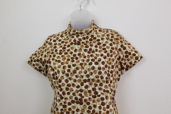 60s Vintage brown ditsy floral print mini dress w… - image 7