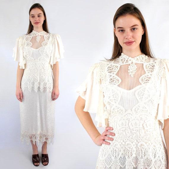 90s Silk Wedding Dress, 20s style jacquard silk an