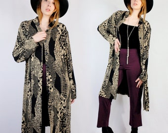 Black and beige patterned stretch knit long cover up 1990s 90s VINTAGE