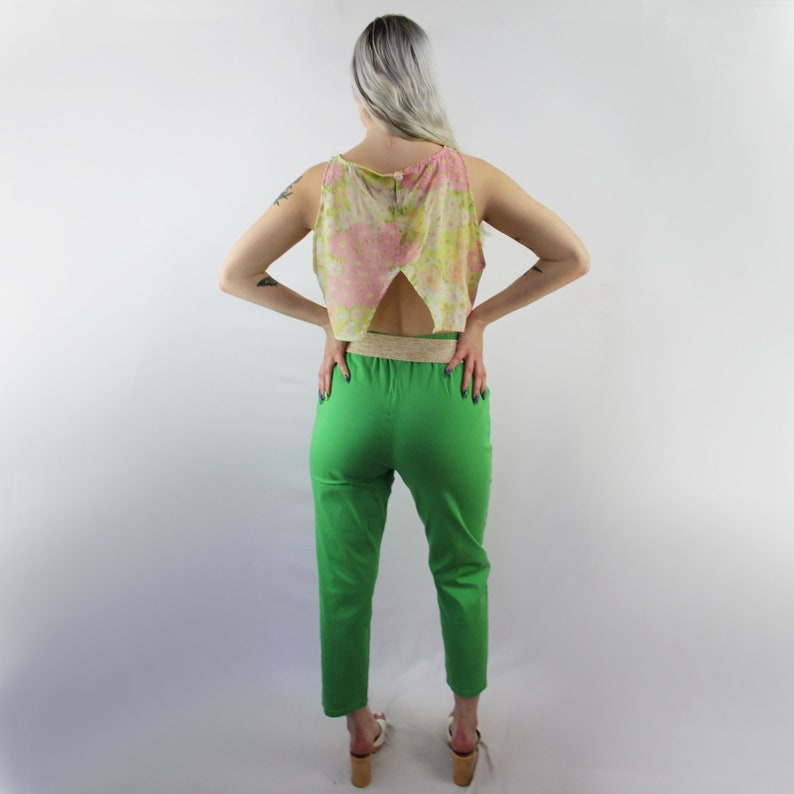 90s stretch green trousers  high waist capris  high rise  elastic waist denim  stretch denim trousers  kelly green  90s VINTAGE capris