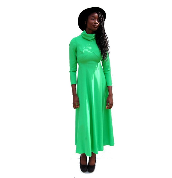 70s VINTAGE high neck long sleeve lime green maxi… - image 5