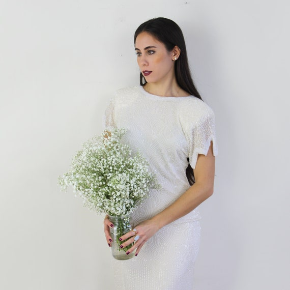 90s heavy beaded silk wedding dress, 20s inspired