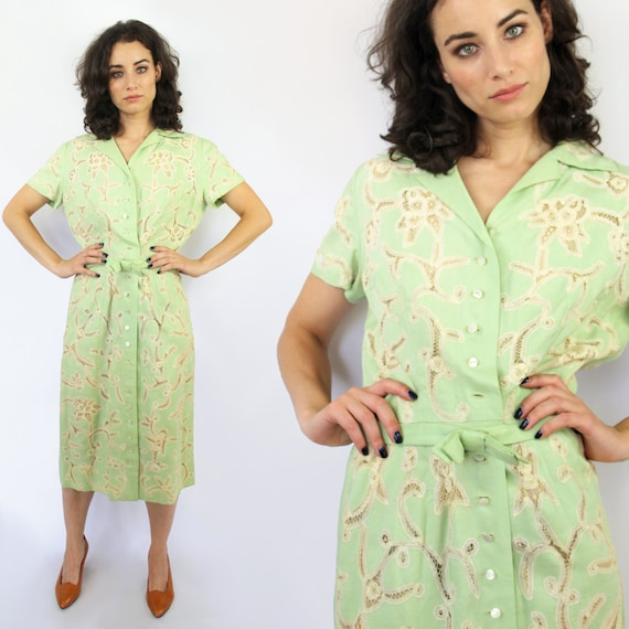 1930s style sage green linen midi dress with cream