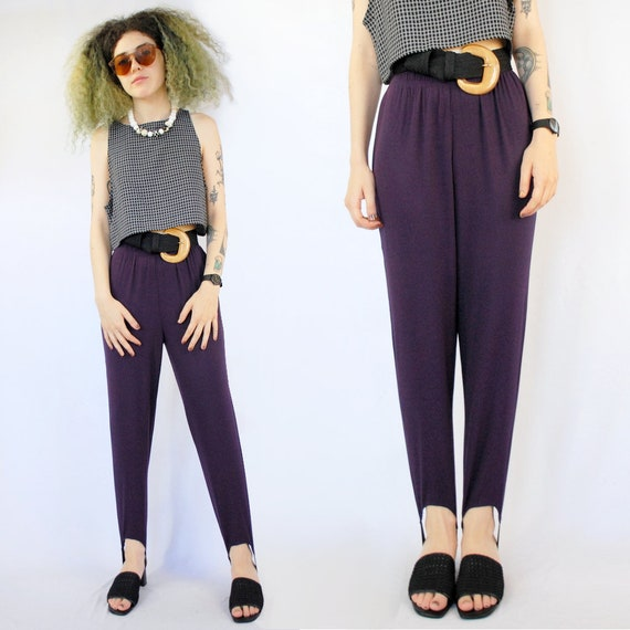 Purple stirrup pants / 90s stirrup pants / petite