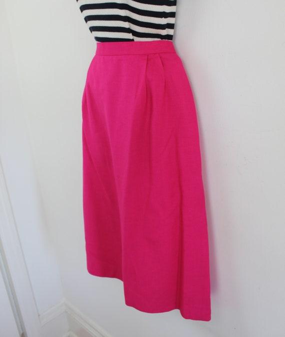 90s vintage hot pink linen blend blazer and skirt… - image 2