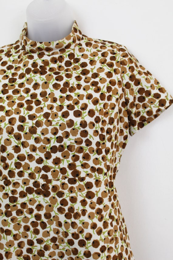 60s Vintage brown ditsy floral print mini dress w… - image 5