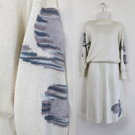 80s vintage knit sweater skirt set with fish motif