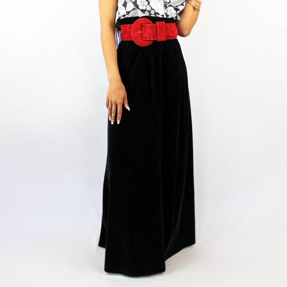 90s VINTAGE black velvet maxi skirt, PETITE, Goth… - image 4