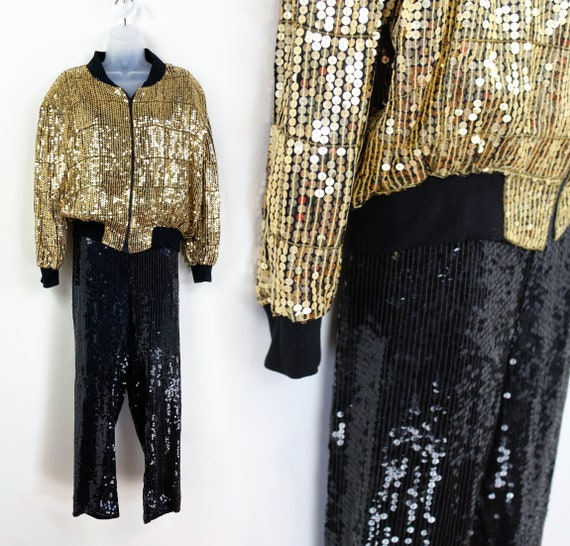 90s gold and black sequin track suit pant suit, Si