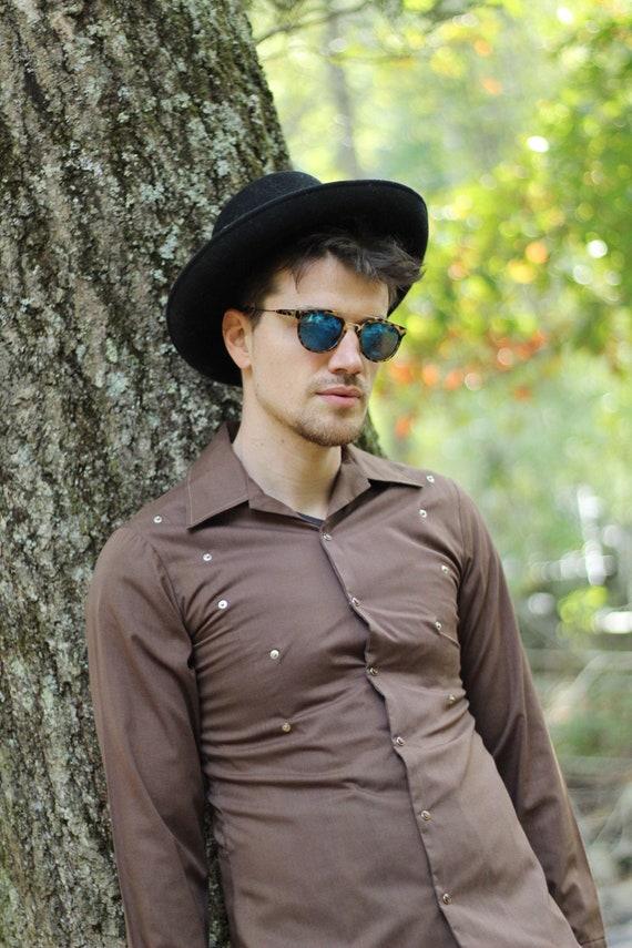 70s brown mens western button shirt, Vintage Weste