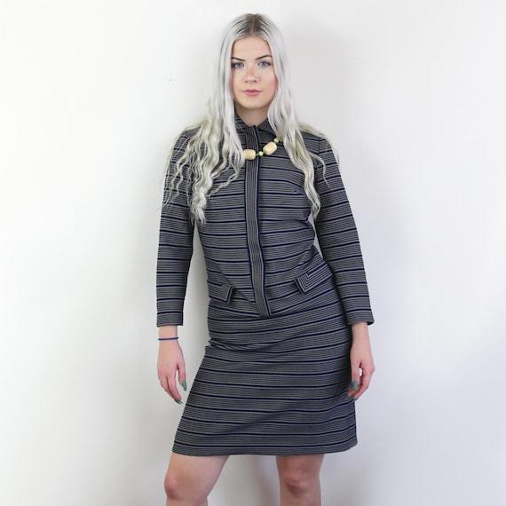 60s Blue and yellow striped Jackie O Mini Dress, … - image 2