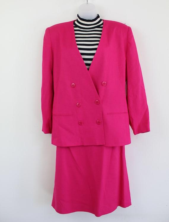 90s vintage hot pink linen blend blazer and skirt… - image 5
