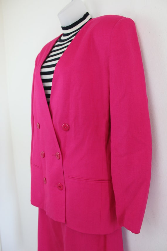 90s vintage hot pink linen blend blazer and skirt… - image 9