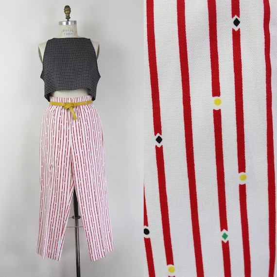 90s red and white and white striped high waist cap