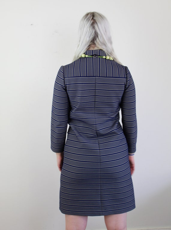 60s Blue and yellow striped Jackie O Mini Dress, … - image 10
