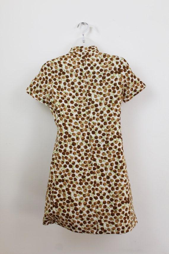 60s Vintage brown ditsy floral print mini dress w… - image 3