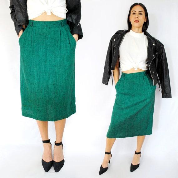 Vintage Shimmering Iridescent Emerald Green Pencil Skirt