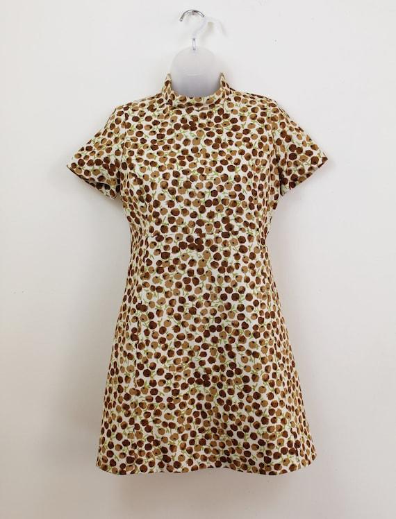 60s Vintage brown ditsy floral print mini dress w… - image 4