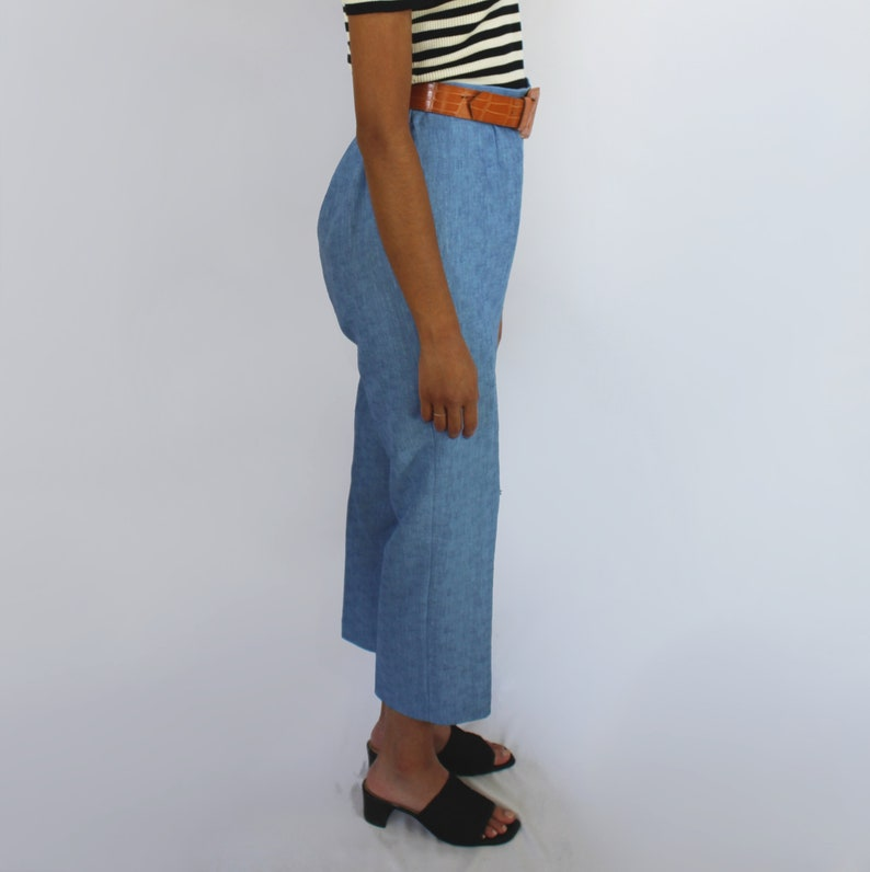 blue slacks cropped pant office wear 90s clothing size 10 28 inch waist 90s trousers 90s baby blue high waist high rise dress capris